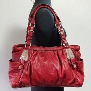 B Makowsky Red Leather Large Shoulder Bag